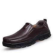 Hombre Zapatos Cuero Primavera Verano Otoño Invierno Confort Zapatos de taco bajo y Slip-On Para Casual Negro Marrón
