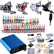 Komplet tatovering kit 4 x stål tatoveringsmaskine til optegning og skygge 4 Tattoo Maskiner Mini strømforsyning Blæk sendes separat