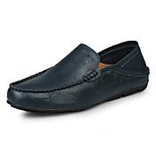 Hombre Zapatos Cuero Verano Otoño Mocasín Zapatos de taco bajo y Slip-On Para Casual Negro Marrón Azul