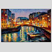 Pintada a mano Paisajes Abstractos Horizontal,Modern Estilo europeo Un Panel Pintura al óleo pintada a colgar For Decoración hogareña