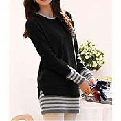Mujer Largo Pullover Casual/Diario Simple Sofisticado,A Rayas Rojo Negro Naranja Escote Redondo Manga Larga Algodón Otoño Medio