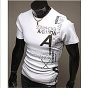 メンズ カジュアル/普段着 ワーク フォーマル スポーツ プラスサイズ Tシャツ ソリッド プリント コットン ポリエステル 半袖