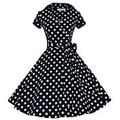 婦人向け シャツカラー プリーツ ドレス , コットン / ポリエステル 膝丈 半袖