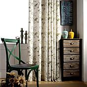 dos paneles de país verde vid floral de lino bordado cortinas mezcla de poliéster oscuras