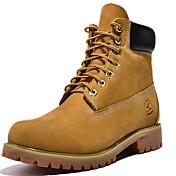 Hombre-Tacón Robusto-Cowboy-Botas-Exterior Informal-Cuero de Napa-Amarillo Gris Topo