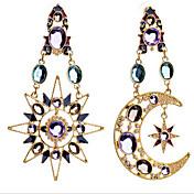 Visací náušnice Zirkon Pozlacené imitace Diamond Barva obrazovky Šperky 2pcs