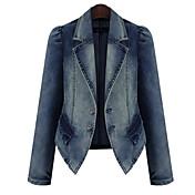 Sexy / Ležérní / Práce Límec na míru - Dlouhé rukávy - ŽENY - Coats & Jackets ( Džínovina )
