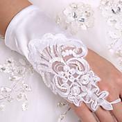 K zápěstí Bez prstů Rukavice Elastický satén Luxus Pro nevěstu Party rukavičky Podzim Léto Výšivka Flitry