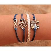 Herre Dame Par Kæde & Lænkearmbånd Wrap Armbånd Vintage Armbånd Læder Armbånd Unikt design Mode Læder Legering Smykker Blå Smykker For
