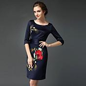 Mujer Vaina Vestido Formal / Trabajo / Tallas Grandes Tejido Oriental,Bordado Escote Redondo Sobre la rodilla 3/4 Manga Azul Poliéster