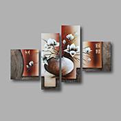 手描きの 抽象画 / 花柄/植物のModern 4枚 キャンバス ハング塗装油絵 For ホームデコレーション