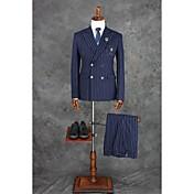 スーツ テイラーフィット ノッチドラペル ダブルブレスト 四つボタン ポリエステル チェック/ギンガム 2点 ダークブルー ストレートフラップ ツータック ダークブルー ツータック ポケット