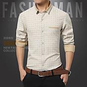 Hombre Formal Casual/Diario Trabajo Tallas Grandes Camisa Un Color A Cuadros Manga Larga Algodón