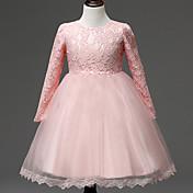 Kjole kjole knælængde blomst pige kjole - blonder tyl lange ærmer juvel hals med drapering