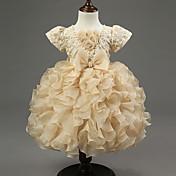 vestido de bola vestido de la muchacha de flor de la longitud de la rodilla - cuello de la joya del organza por la manera del cheng de hua
