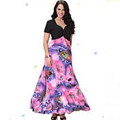 甘いカーブの女性のビーチプラスサイズドレス、印刷/パッチワークVネックミディ半袖ピンクスパンデックス/その他夏