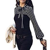 婦人向け プラスサイズ オールシーズン Tシャツ ストライプ ホワイト / ブラック コットン / その他 長袖 ミディアム