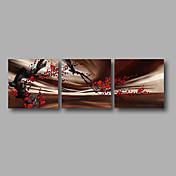 手描きの 抽象画 花柄/植物の 水平パノラマ,Modern 3枚 キャンバス ハング塗装油絵 For ホームデコレーション