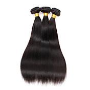 """人間の髪の延長のかつら3バンドル/ 150g 100%未処理のペルーのストレートソフトヒューマンエクステンション16 """"x3"""