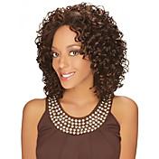 Mujer Pelucas sintéticas Sin Tapa Medio Rizado Marrón Para mujeres de color Raya en medio Peluca afroamericana Peluca natural Las pelucas