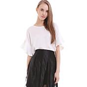 婦人向け カジュアル/普段着 ブラウス,シンプル ラウンドネック ソリッド レッド / ホワイト / ブラック シルク 半袖 半透明