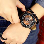 Pánské Sportovní hodinky Náramkové hodinky Křemenný Chronograf Kůže Kapela Černá Hnědá 1# 2# 3# 4#
