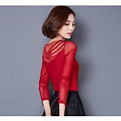 Mujer Simple Tallas Grandes Casual/Diario Primavera Camiseta,Escote en Pico Un Color Manga Larga Nailon Licra Otro Medio