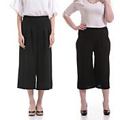 婦人向け カジュアル ワイドレッグ パンツ,ポリエステル 伸縮性なし