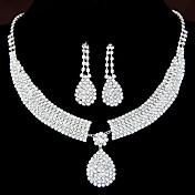Mujer Juego de Joyas Pendientes colgantes Collares con colgantes Cristal Nupcial Elegant joyería de disfraz Brillante Legierung Gota