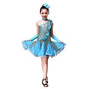 Baile Latino Vestidos Niños Representación Poliéster Lentejuela Fruncido 4 Piezas Vestido Guantes Tocados