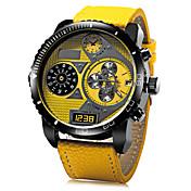 JUBAOLI Hombre Reloj Militar Reloj de Pulsera Cuarzo Piel Banda Negro Azul Rojo Amarillo