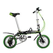 14インチ6ギア折りたたみ自転車のディスクブレーキ自転車グリーン市場dequilon