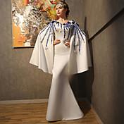 Salón Hasta el Suelo Satén Lentejuelas Evento Formal Vestido con Cuentas Apliques Detalles de Cristal Flor(es) Encaje Lentejuelas por QZ