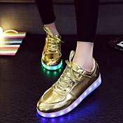 Mujer Hombre-Tacón Plano-Light Up ZapatosExterior Informal Deporte-Semicuero-Plata Oro