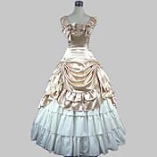 Una Sola Pieza/Vestidos Lolita Clásica y Tradicional Princesa Cosplay Vestido  de Lolita Oro Cosecha Mariposa Sin Mangas Longitud Larga