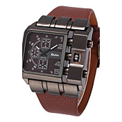 男性用 軍用腕時計 リストウォッチ クォーツ 大きめ文字盤 レザー バンド クール ブラック ブルー レッド ブラウン