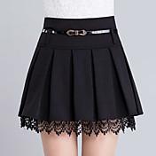 婦人向け カジュアル / シンプル 膝上 スカート,ポリエステル マイクロエラスティック