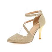 Mujer-Tacón Stiletto-Tacones / PuntiagudosBoda / Vestido-Semicuero-Plata / Oro