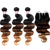 Trama del pelo con cierre Cabello Malayo Ondulado Grande 12 meses 4 Piezas los tejidos de pelo