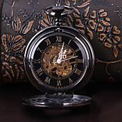 男性 女性用 ユニセックス 懐中時計 機械式時計 透かし加工 自動巻き 合金 バンド ラグジュアリー ブラック