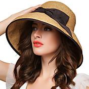 Mujer Primavera Verano Otoño Todas las Temporadas Vintage Fiesta Trabajo Casual Hilo Bombín/Cloche Sombrero de Paja