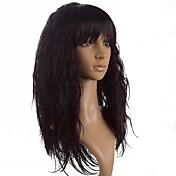 Mujer Pelucas sintéticas Sin Tapa Largo Liso Encrespado Negro Marrón Fuxia Con flequillo Peluca natural Las pelucas del traje