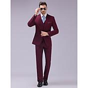 スーツ スリムフィット スリムノッチドラペル シングルブレスト 一つボタン 3点 バーガンディ ストレートフラップ