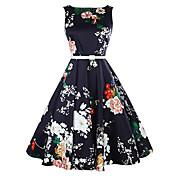 Mujer Línea A Vestido Casual/Diario Vintage,Floral Escote Redondo Hasta la Rodilla Sin Mangas Azul Algodón Verano Tiro Medio Microelástico