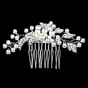 Mujer Perla Diamantes Sintéticos Cristal Aleación Celada-Boda Ocasión especial Casual Peinetas 1 Pieza
