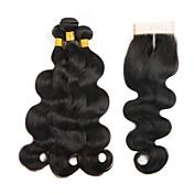 閉鎖が付いている毛横糸 ペルービアンヘア ウェーブ 4個 ヘア織り