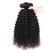 人毛 インディアンヘア 人間の髪編む Kinky Curly アフロ カールつけ毛 ヘアエクステンション 3個 ブラック