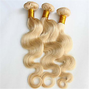 人間の髪編む ブラジリアンヘア ウェーブ 3個 ヘア織り
