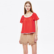 De las mujeres Simple Noche Verano Camiseta,Escote Redondo Un Color Manga Corta Poliéster Rojo Fino