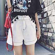De las mujeres Pantalones Cortos-Chic de Calle Microelástico-Algodón